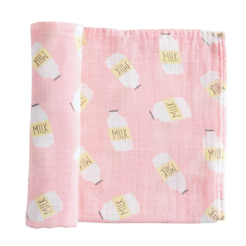 Muslin Pink Cookies and Milk Swaddle Blanket