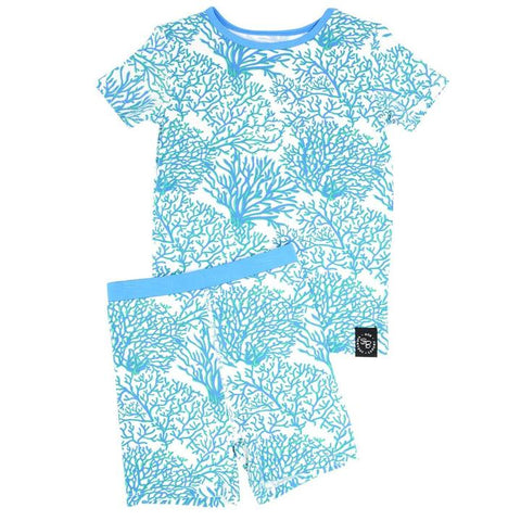Short Sleeve with Shorts Pajama Set - Blue Coral