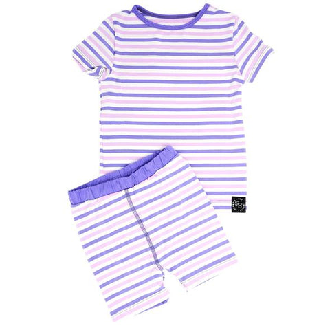 Short Sleeve with Shorts Pajama Set - Purple and Orchid Stripe