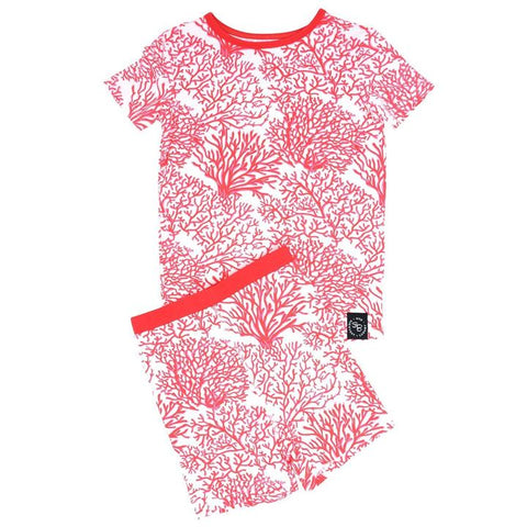 Short Sleeve with Shorts Pajama Set - Red Coral