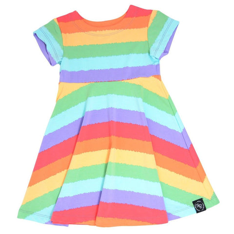 Swirly Girl Dress with Cap Sleeve- Rainbow Stripe