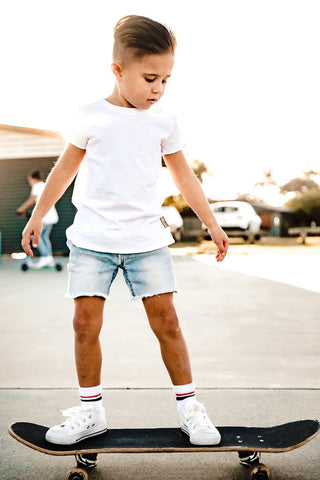 Beau Hudson Raw Edge White Tall Tee- Kids