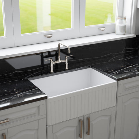 White Fireclay Farmhouse Sink by Crestwood