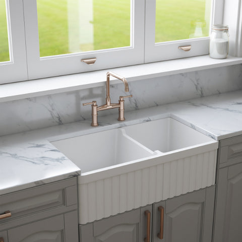 Crestwood 33 inch double bowl fireclay farmhouse sink