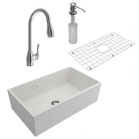 Bocchi Contempo 33 Fireclay Farmhouse Sink White Faucet All in One Bundle