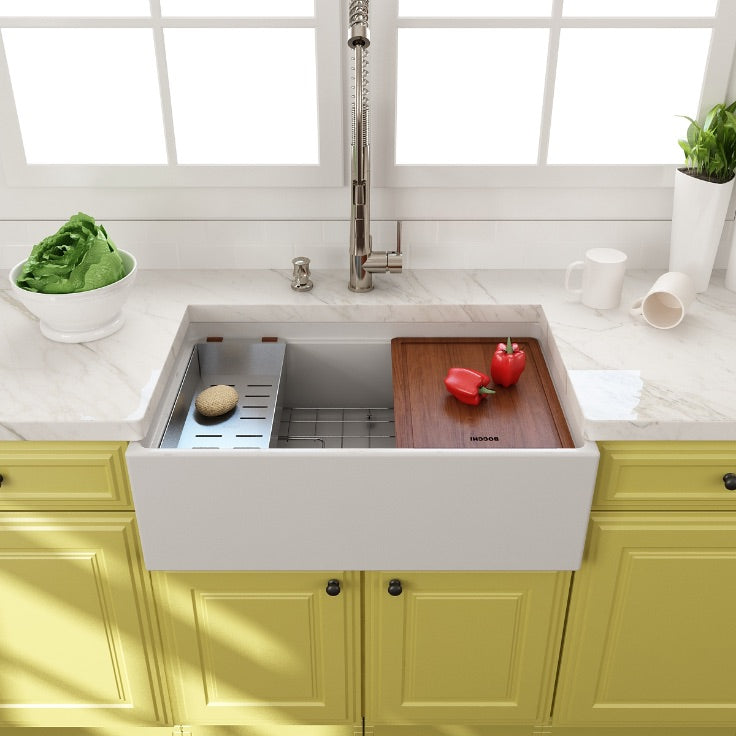 Bocchi contempo 30 step rim with cutting board and yellow cabinets