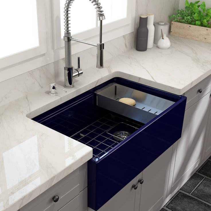 Bocchi sapphire blue kitchen sink with high bridge faucet and strainer