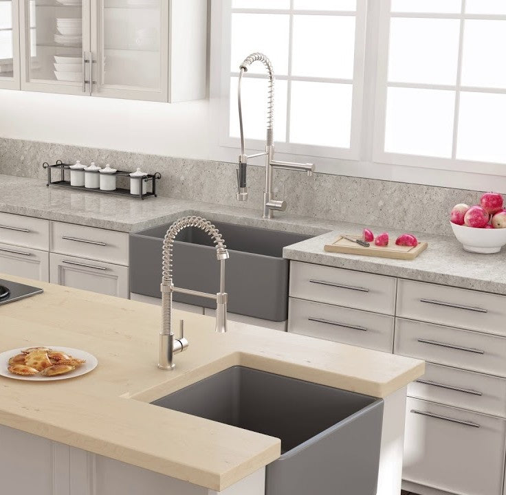 2 Bocchi grey fireclay sinks in modern kitchen