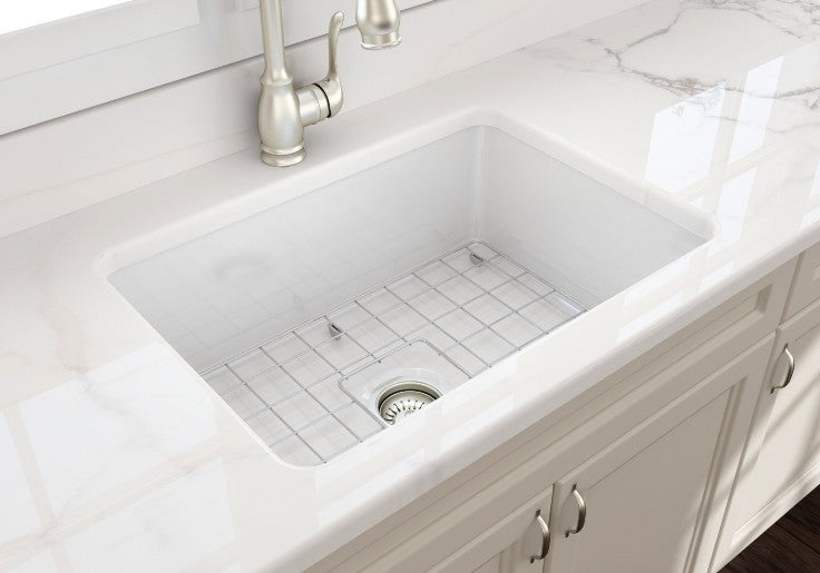 Bocchi sotto undermount fireclay sink with light cabinet installed