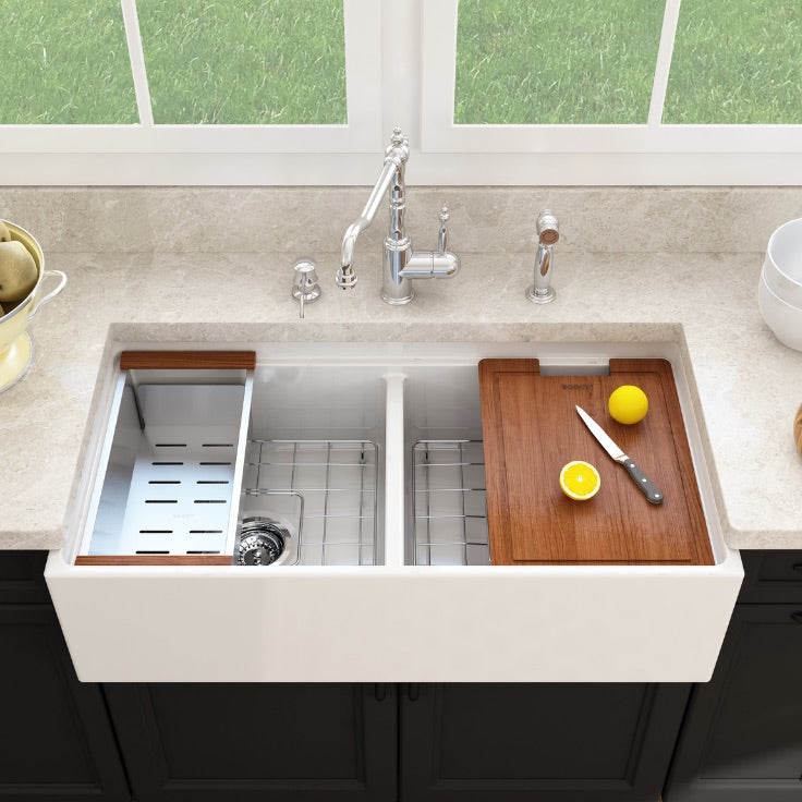 Bocchi fireclay step rim sink installed with cutting board