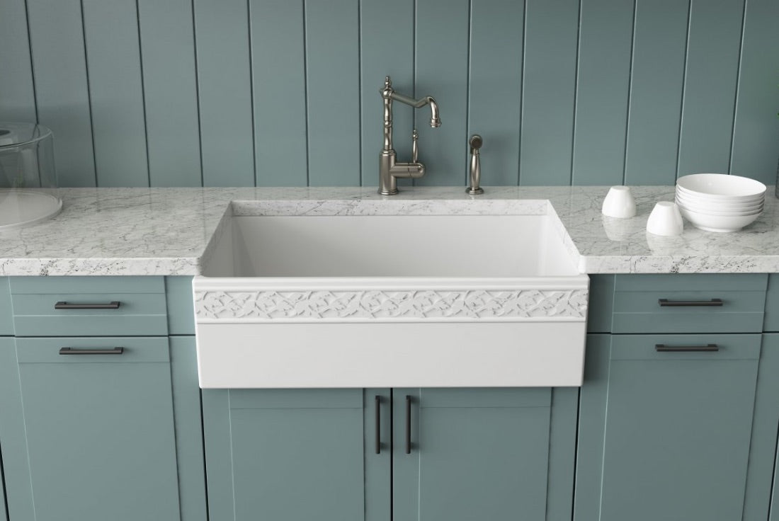 Bocchi vigneto farmhouse sink with teal kitchen installed