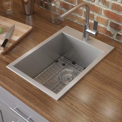 Drop-in Topmount Bar Prep Sink 16 Gauge Stainless Steel Single Bowl in a wooded style kitchen