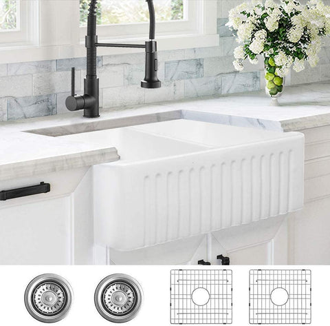 Fireclay Farmhouse Double Basin Apron-Front Kitchen Sink, White Fireclay Reversible Kitchen Sink with 2 Stainless Steel Grid and 2 Drains