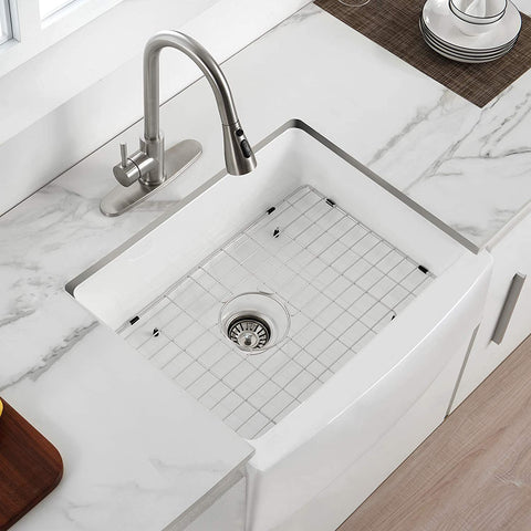Fireclay Single Bowl Small Sink With White Kitchen Sink with Protective Bottom Grid and Strainer