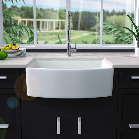 Kitchen Sink Arch Edge Curved Apron Front Ceramic Porcelain Fireclay Single Bowl Farmer Sink With Perfect View