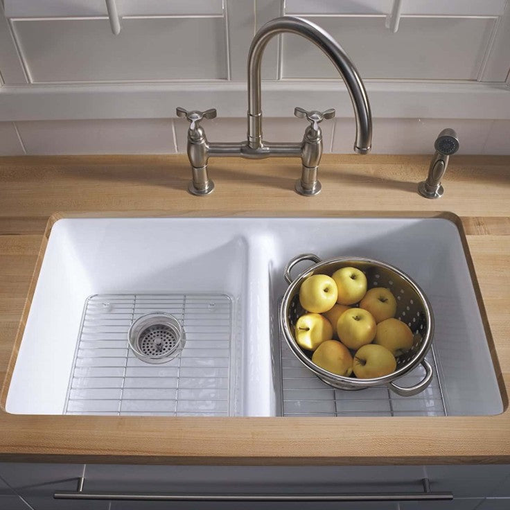 kholer cast iron kitchen sink with grid and apples