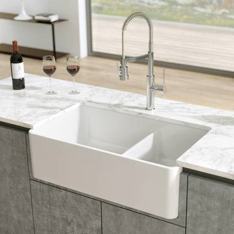 33 White Latoscana Double-Bowl Fireclay Farmhouse Sink