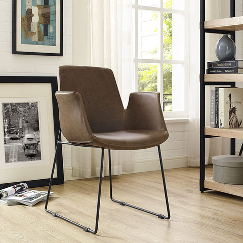Modway Aloft Faux Leather Modern Farmhouse Kitchen and Dining Room Chair