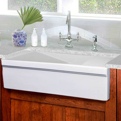 Nantucket Cape Collection 36 White Farm Sink with Drainboard