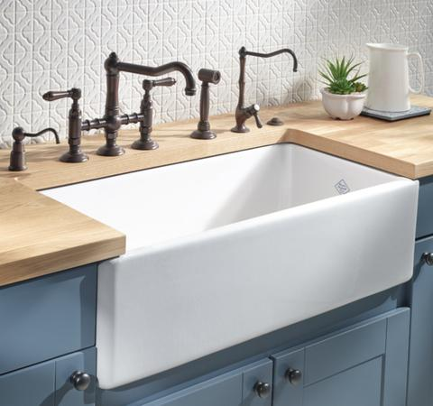 White Rohl Fireclay farmhouse sink 33 inches