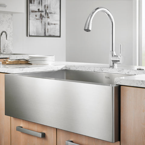 Rohl Stainless steel farmhouse sink with faucet