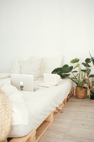 bed with white sheets beside plant