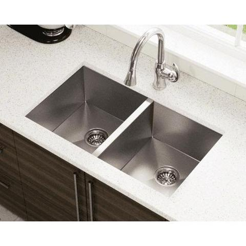 double basin and white countertop