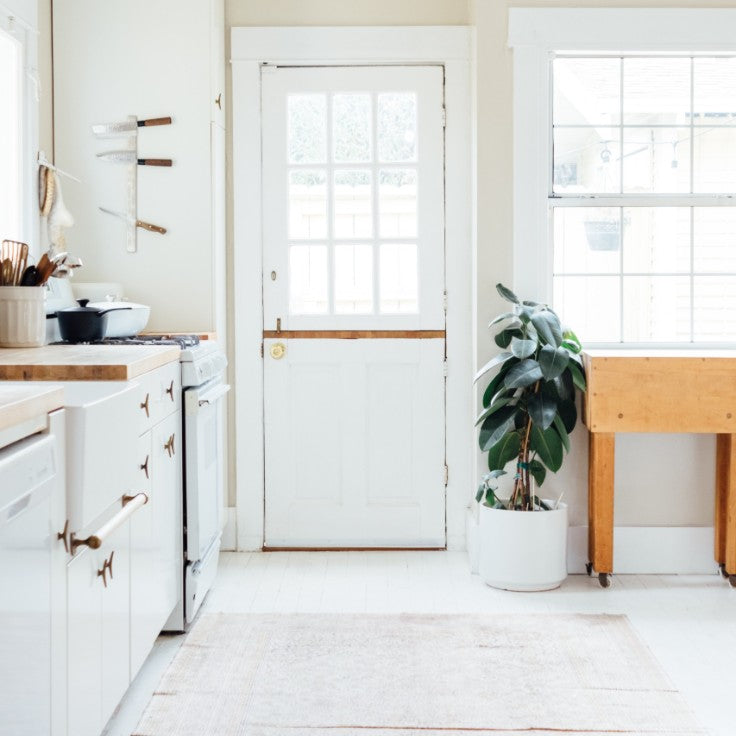 country home with white fireclay farmhouse sink