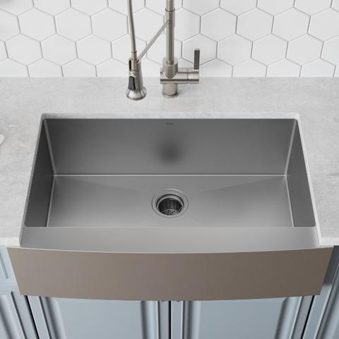 photo of stainless steel sink from above