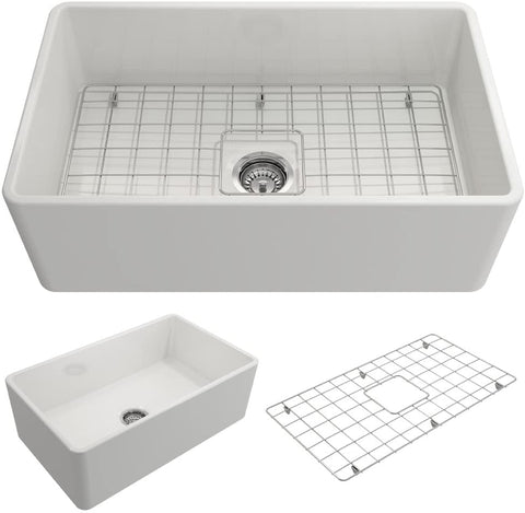 super white single bowl with protective bottom grid and strainer