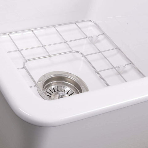 super white sink with strainer and grid