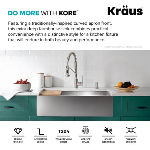 "Kraus Kore KWF210-33 33"" Stainless Steel Single Bowl Farmhouse Sink w/ Integrated Ledge"