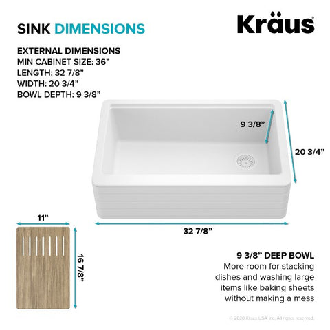 "Image of Kraus Bellucci KGF11-33WH 33"" White Single Bowl Granite Composite  Farmhouse Sink"
