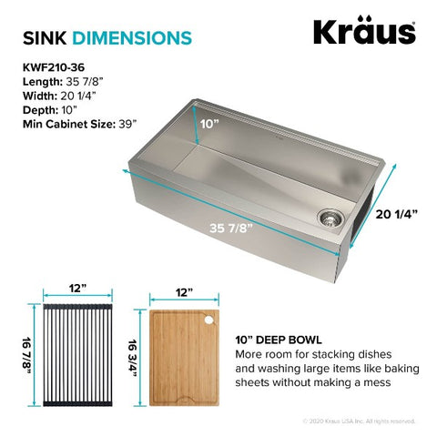 "Image of Kraus Kore KWF210-36 36"" Stainless Steel Single Bowl Farmhouse Sink w/ Integrated Ledge"