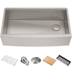 "Kraus Kore KWF210-36 36"" Stainless Steel Single Bowl Farmhouse Sink w/ Integrated Ledge"