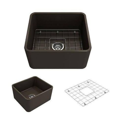 "Image of Bocchi Classico 20"" Brown Fireclay Single Bowl Farmhouse Sink w/ Grid-Annie & Oak"