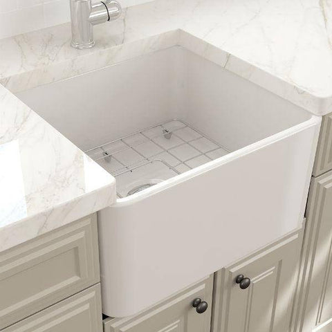 "Image of Bocchi Classico 20"" White Fireclay Single Bowl Farmhouse Sink w/ Grid - Annie & Oak"