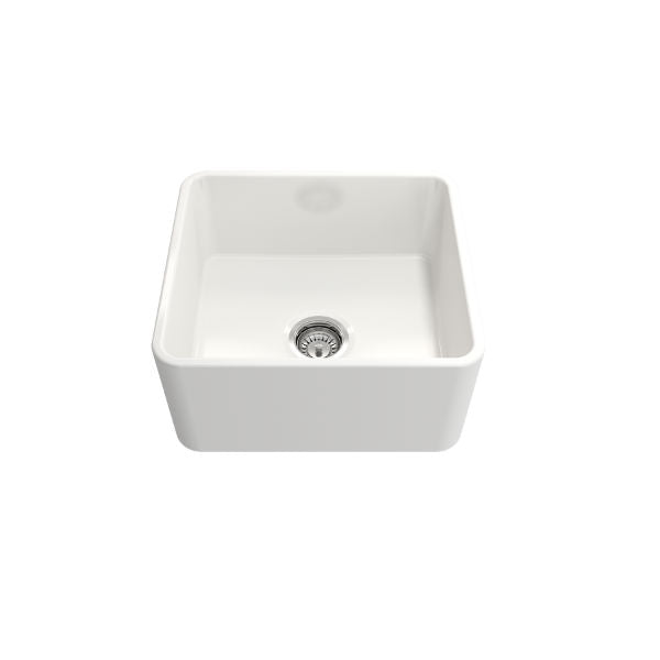 "Bocchi Classico 20"" White Fireclay Single Bowl Farmhouse Sink w/ Grid - Annie & Oak"