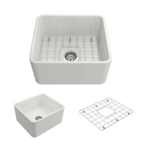 "Bocchi Classico 20"" White Fireclay Single Bowl Farmhouse Sink w/ Grid-Annie & Oak"