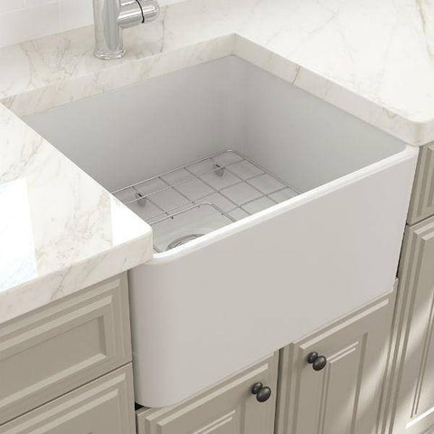 "Bocchi Classico 20"" Matte White Fireclay Single Bowl Farmhouse Sink w/ Grid - Annie & Oak"