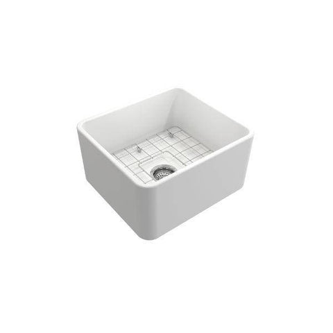 "Image of Bocchi Classico 20"" Matte White Fireclay Single Bowl Farmhouse Sink w/ Grid-Annie & Oak"