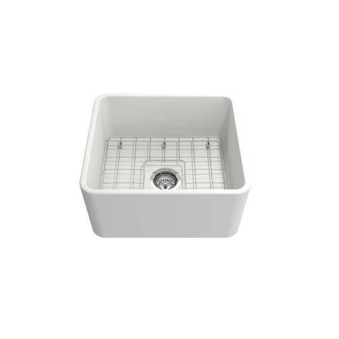 "Bocchi Classico 20"" Matte White Fireclay Single Bowl Farmhouse Sink w/ Grid-Annie & Oak"