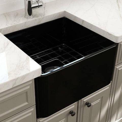 "Image of Bocchi Classico 20"" Matte Black Fireclay Single Bowl Farmhouse Sink w/ Grid-Annie & Oak"