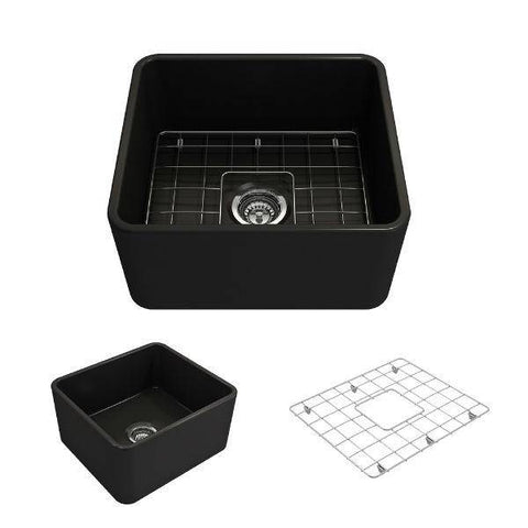 "Bocchi Classico 20"" Matte Black Fireclay Single Bowl Farmhouse Sink w/ Grid-Annie & Oak"