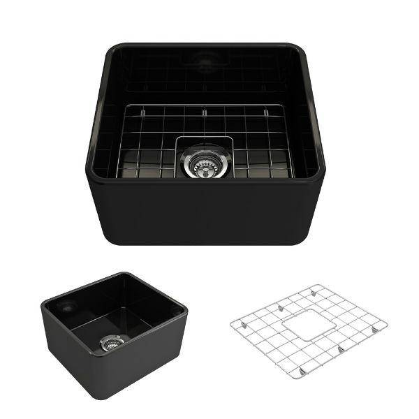 "Bocchi Classico 20"" Black Fireclay Single Bowl Farmhouse Sink w/ Grid-Annie & Oak"