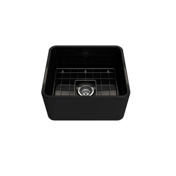 "Bocchi Classico 20"" Black Fireclay Single Bowl Farmhouse Sink w/ Grid - Annie & Oak"