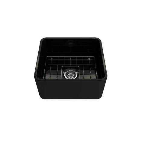 "Image of Bocchi Classico 20"" Black Fireclay Single Bowl Farmhouse Sink w/ Grid-Annie & Oak"