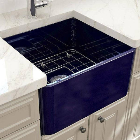 "Image of Bocchi Classico 20"" Blue Fireclay Single Bowl Farmhouse Sink w/ Grid-Annie & Oak"