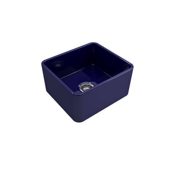 "Bocchi Classico 20"" Blue Fireclay Single Bowl Farmhouse Sink w/ Grid - Annie & Oak"