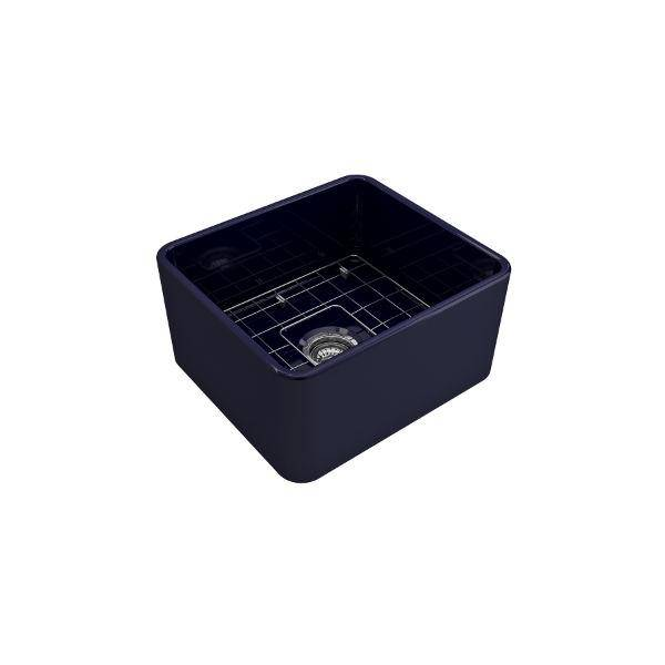 "Bocchi Classico 20"" Blue Fireclay Single Bowl Farmhouse Sink w/ Grid-Annie & Oak"